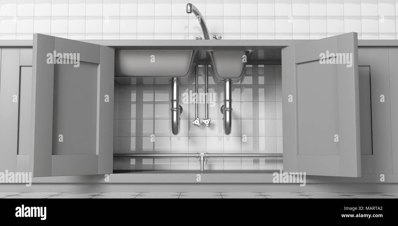 Mobili da cucina con porte aperte, lavello in acciaio inox e ...