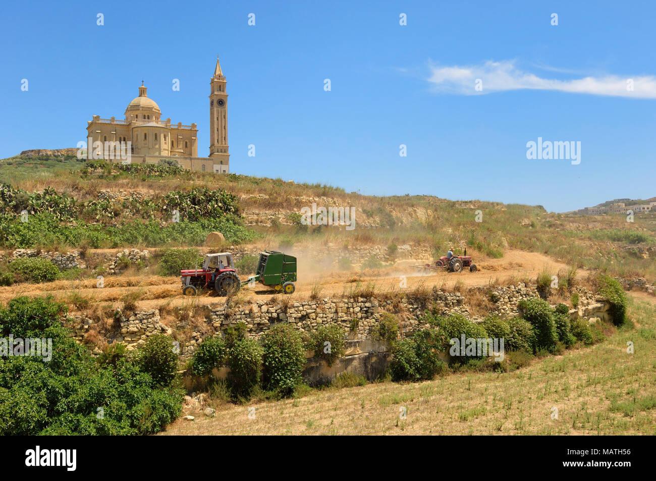 Ta' Pinu chiesa vicino a Gharb a Gozo, Malta, Europa Immagini Stock