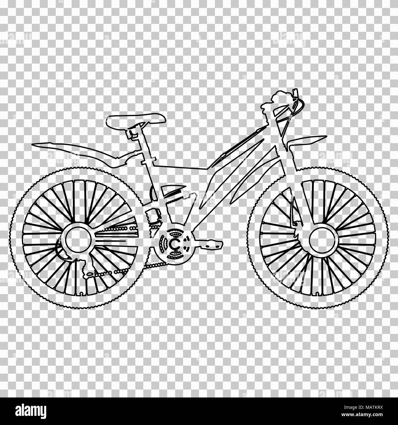 Delineare La Figura Bicicletta Semi Faccia Su Sfondo Trasparente