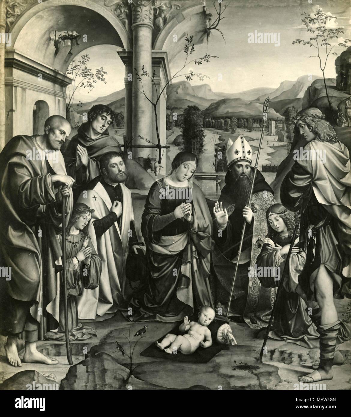 L adorazione del Bambino Gesù, pittura di Francia, Bologna, Italia Immagini Stock