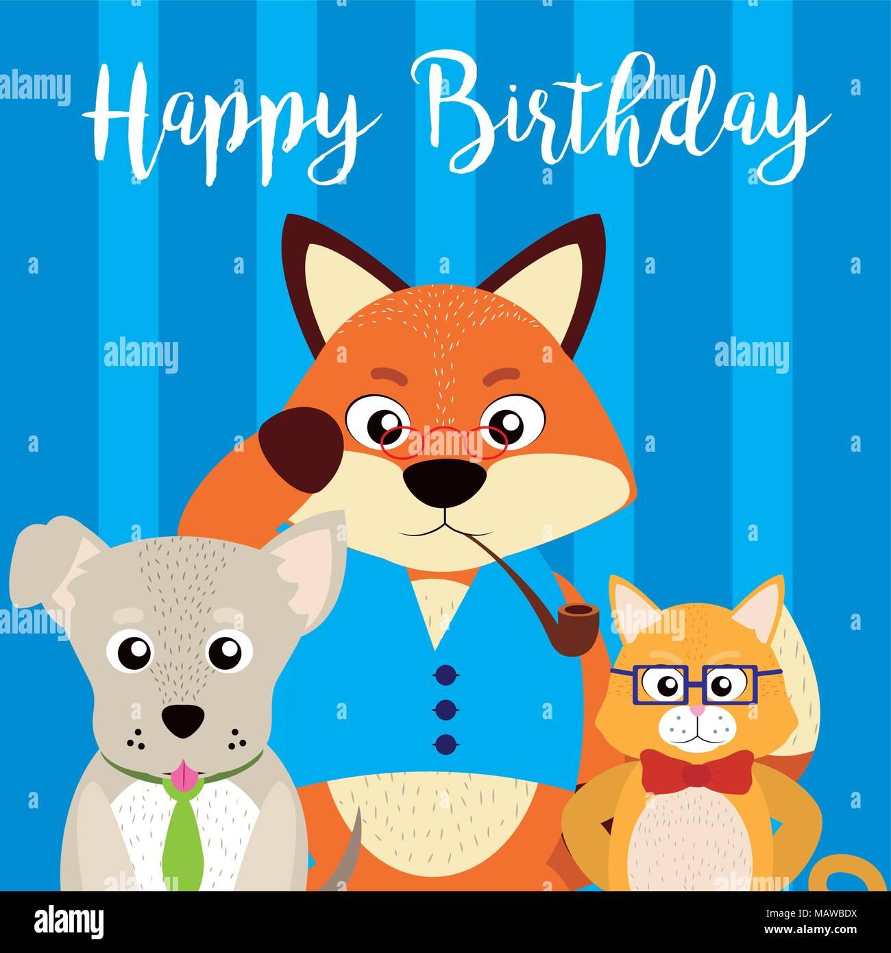Buon Compleanno Card Con Simpatici Animali Illustrazione Vettoriale