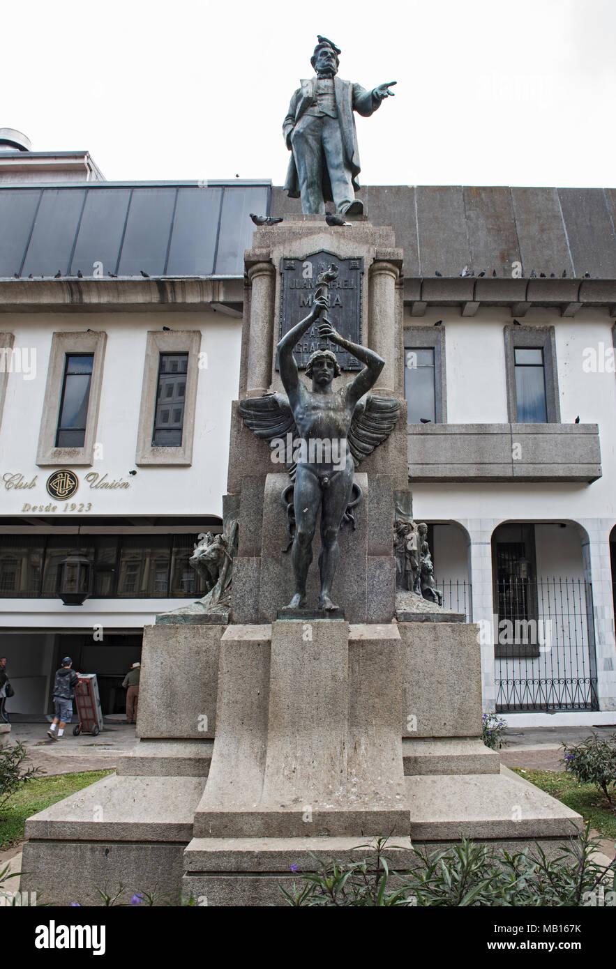 La statua dell' ex Presidente del Post Juan Rafael Mora Porras, San Jose, Costa Rica Immagini Stock