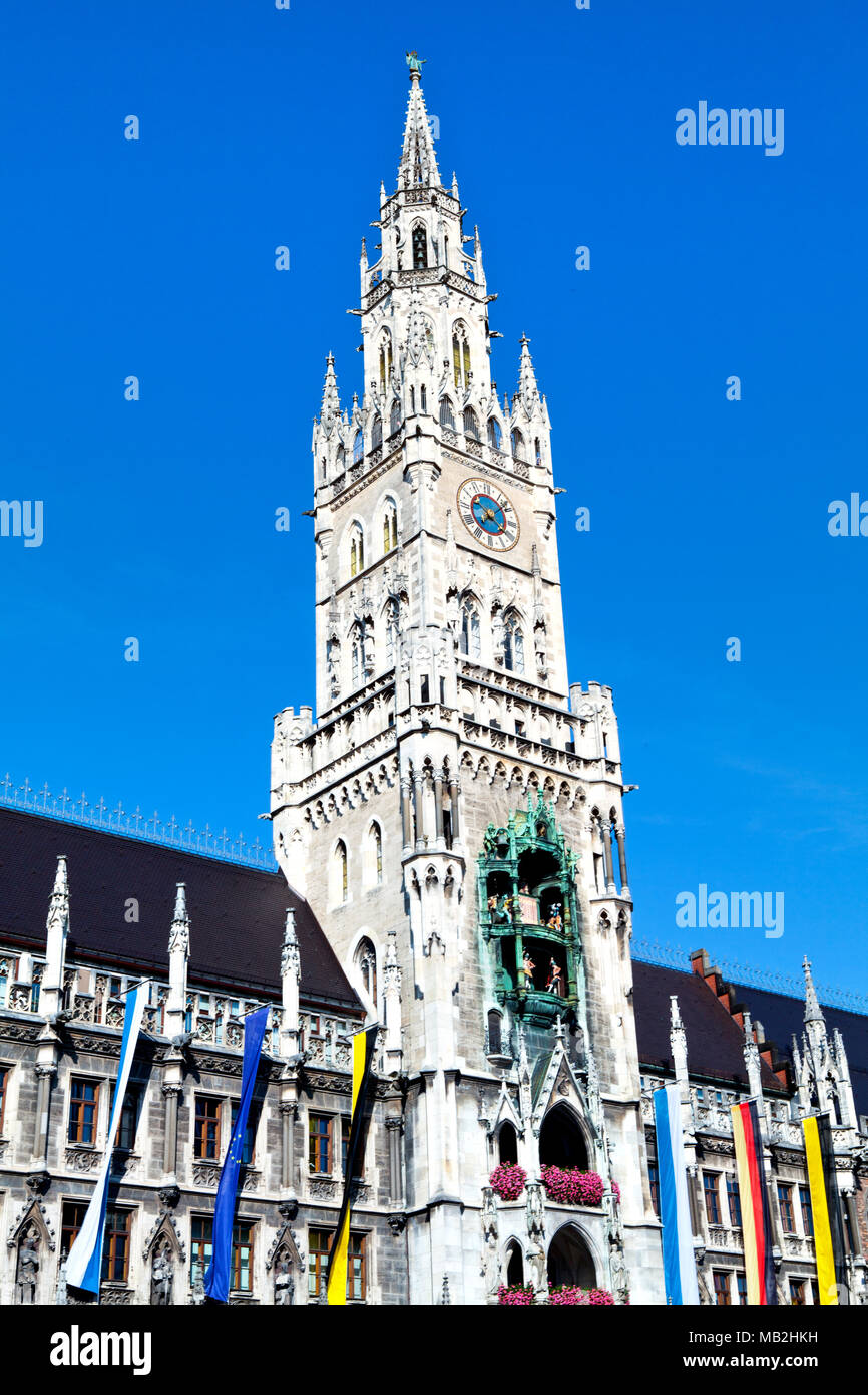 Il municipio sulla piazza Marienplatz a Monaco di Baviera, Germania Immagini Stock