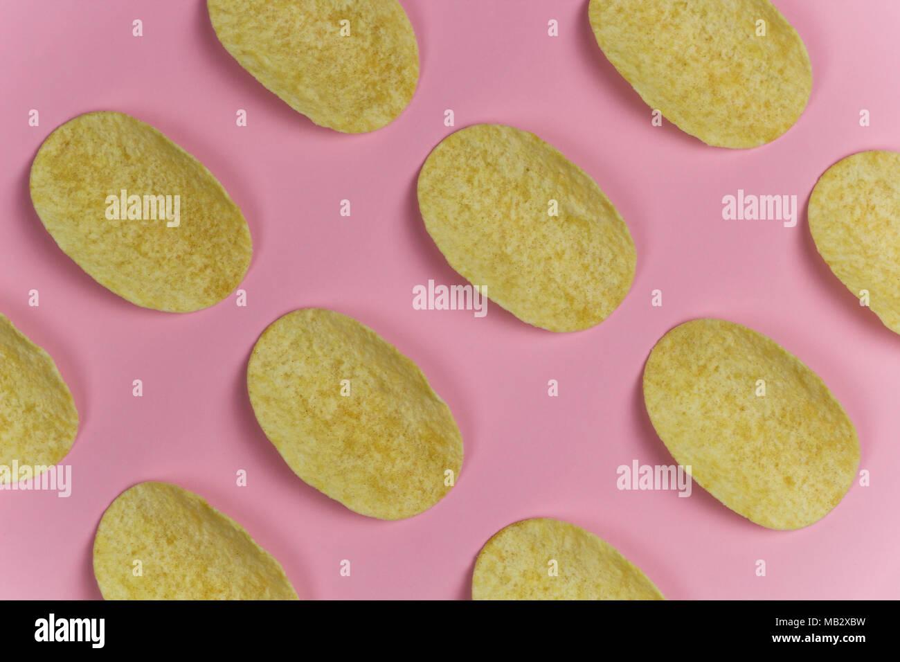 Chip Righe Pastello Rosa Sullo Sfondo Foto Immagine Stock