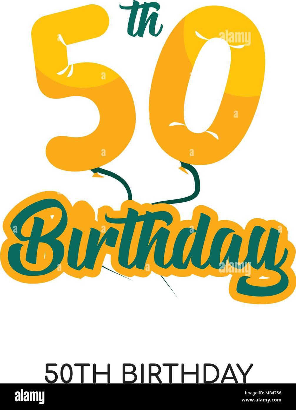 Cinquantesimo Compleanno Isolato Del Logo Su Sfondo Bianco Per Il
