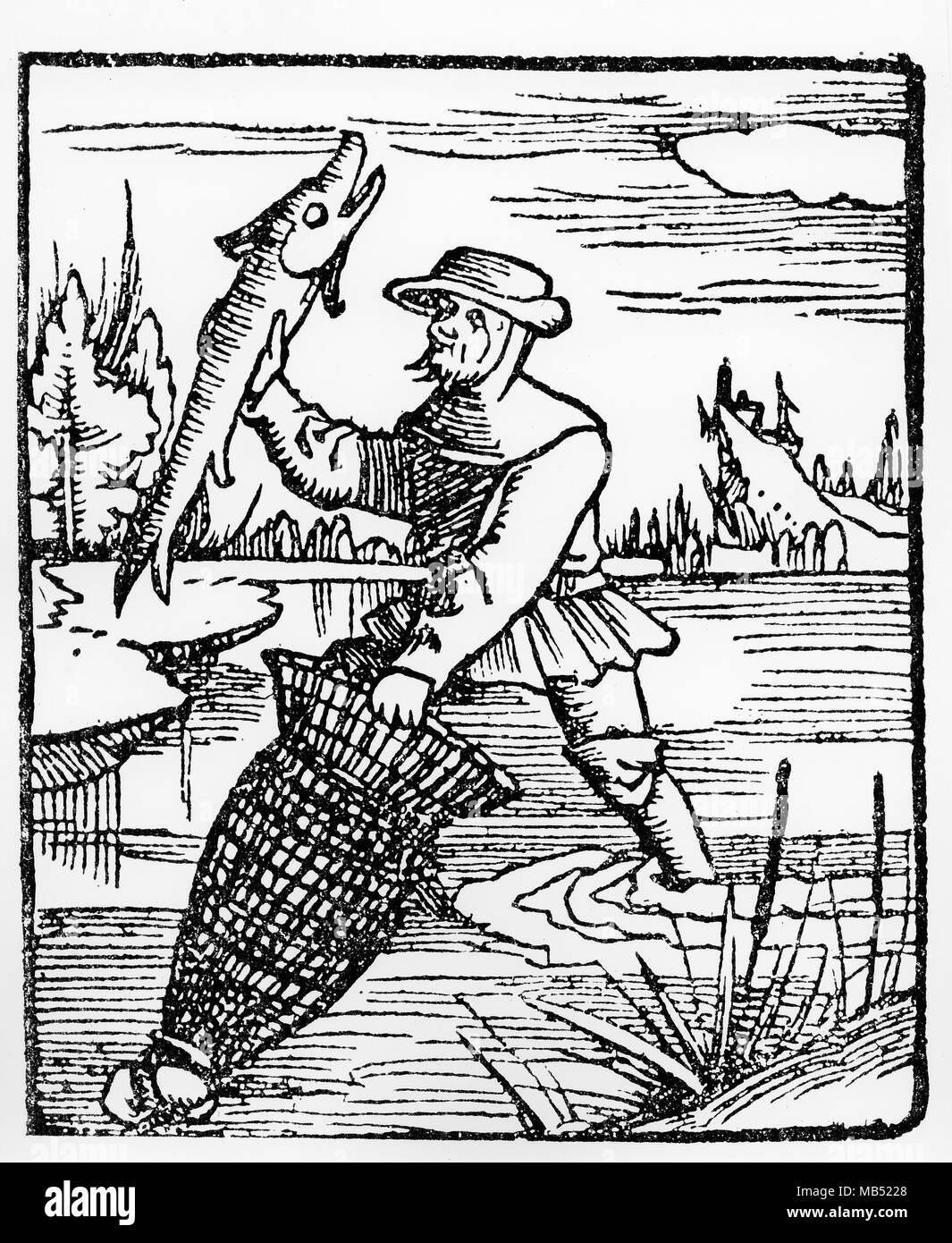 Pescatore con il riutilizzo, xilografia, XVI secolo Immagini Stock