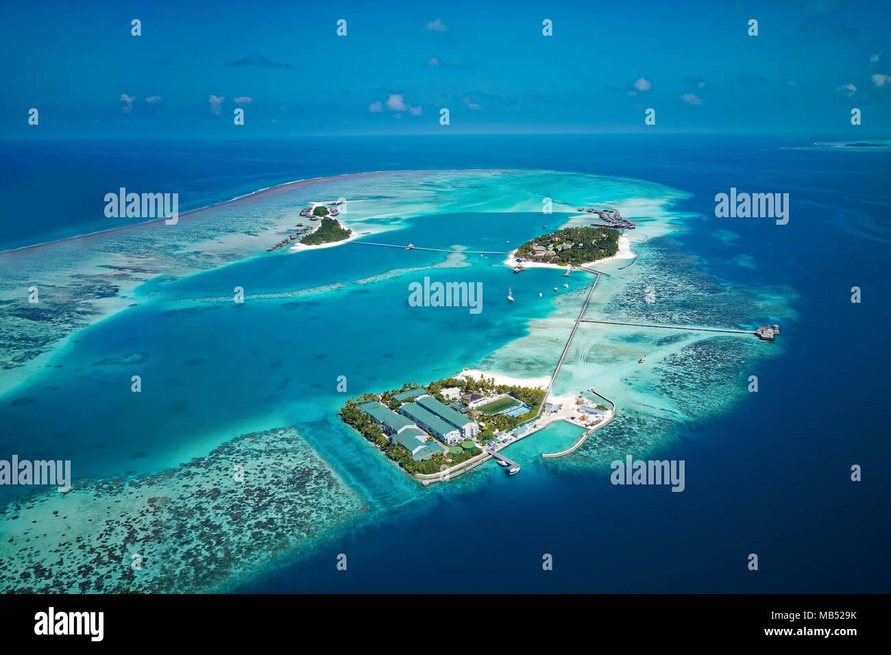 Conrad Maldives Rangali Island resort di lusso, Coral reef, Rangalifinolhu, Ari Atoll, Oceano Indiano, Maldive Immagini Stock