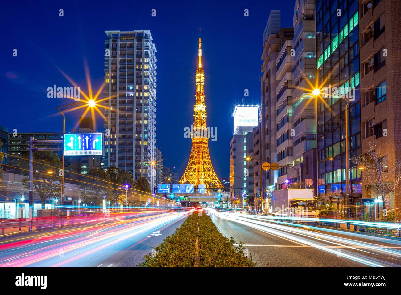 Vista notturna della città di Tokyo, Giappone Immagini Stock