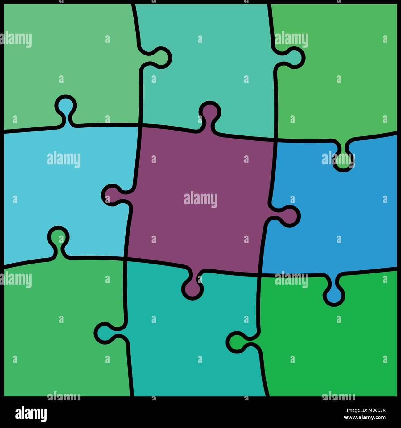 Abstract Puzzle Colorato Sfondo Verde E Viola Illustrazione