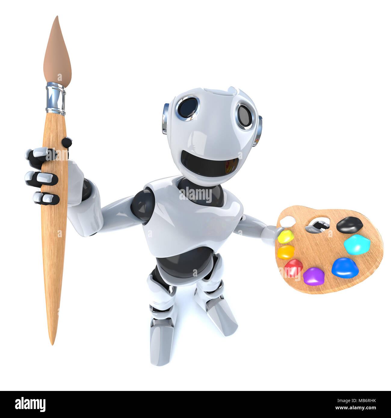 3d render di un divertente cartone animato robot androide tenendo un