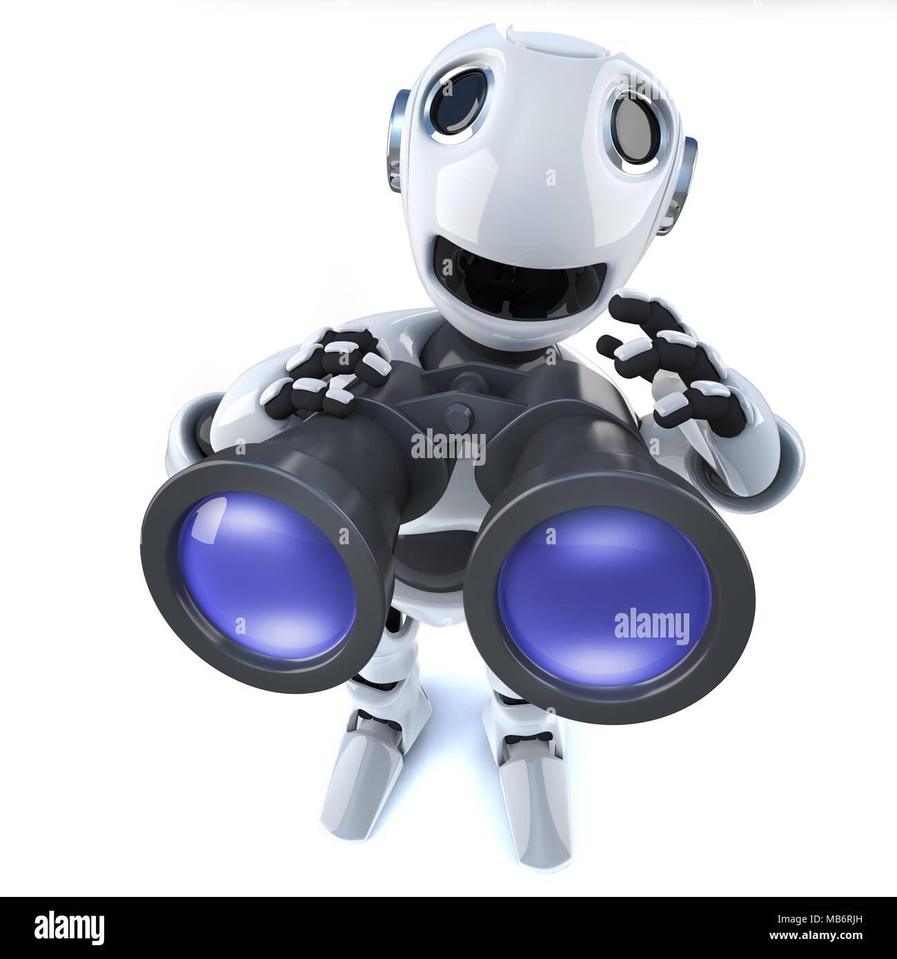 3d render di un cartone animato robot uomo usando un paio di