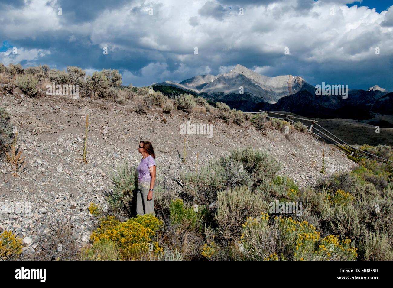 Il Monte Borah 21-miglio-lungo terremoto scarpata con il Monte Borah in background (MR) Immagini Stock