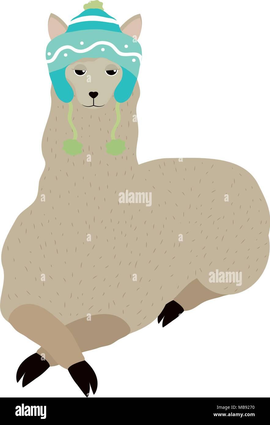 personalizzate carino economico limpido in vista Simpatici animali ovini con Cappello invernale Illustrazione ...