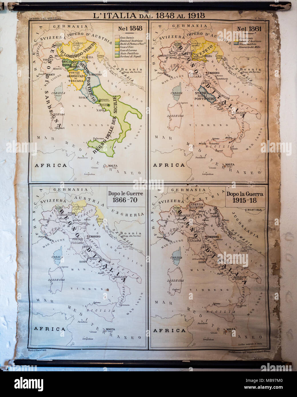 Cartina Geografica Italia Africa.Vecchia Cartina Geografica Di Italia Con I Confini Da 1848 A 1918 Foto Stock Alamy