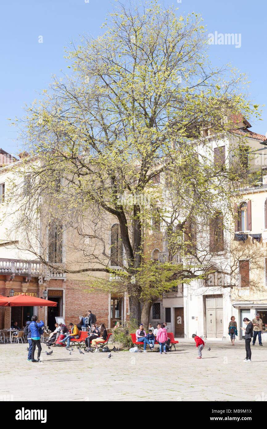 Campo San Polo, San Polo, Venezia, Veneto, Italia in primavera con la gente del posto e i turisti rilassante sulla colorata di rosso panche sotto un albero Immagini Stock