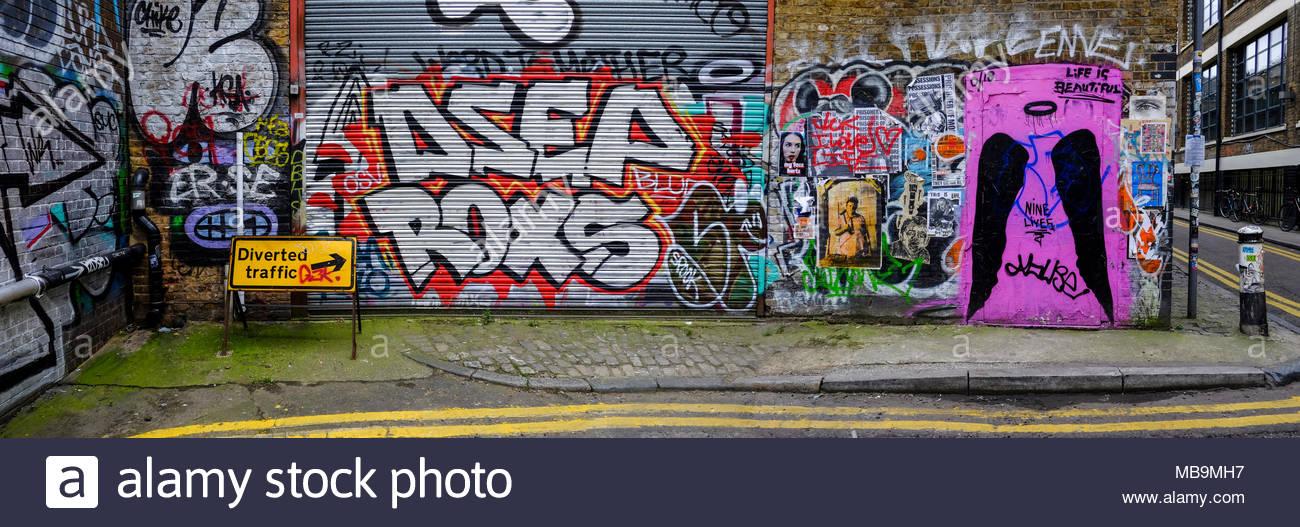 Street Art, Shoreditch, London, Regno Unito Immagini Stock