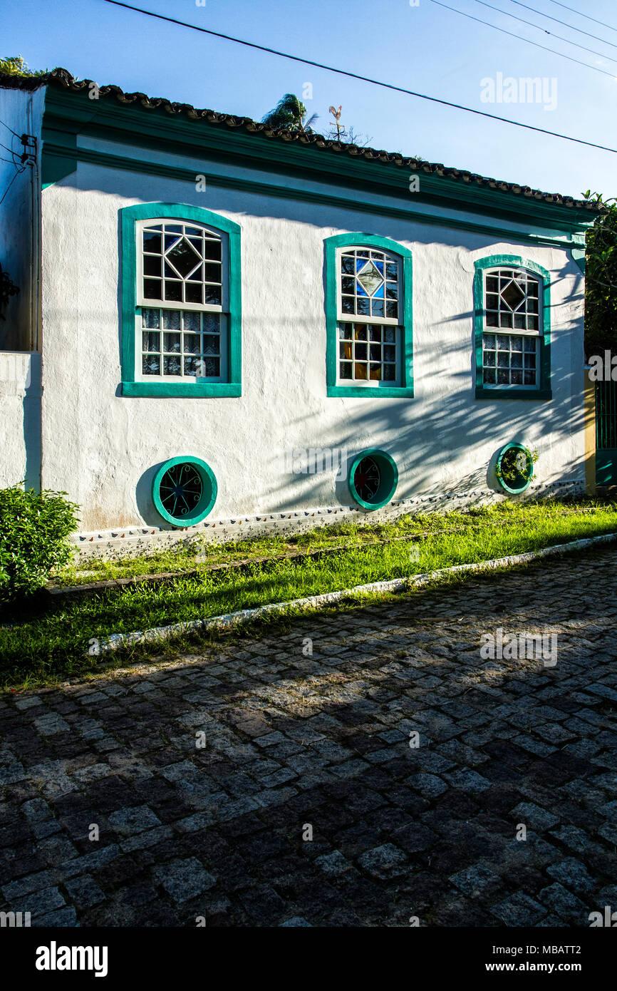 Architettura coloniale casa di Enseada do Brito. Palhoca, Santa Catarina, Brasile. Foto Stock
