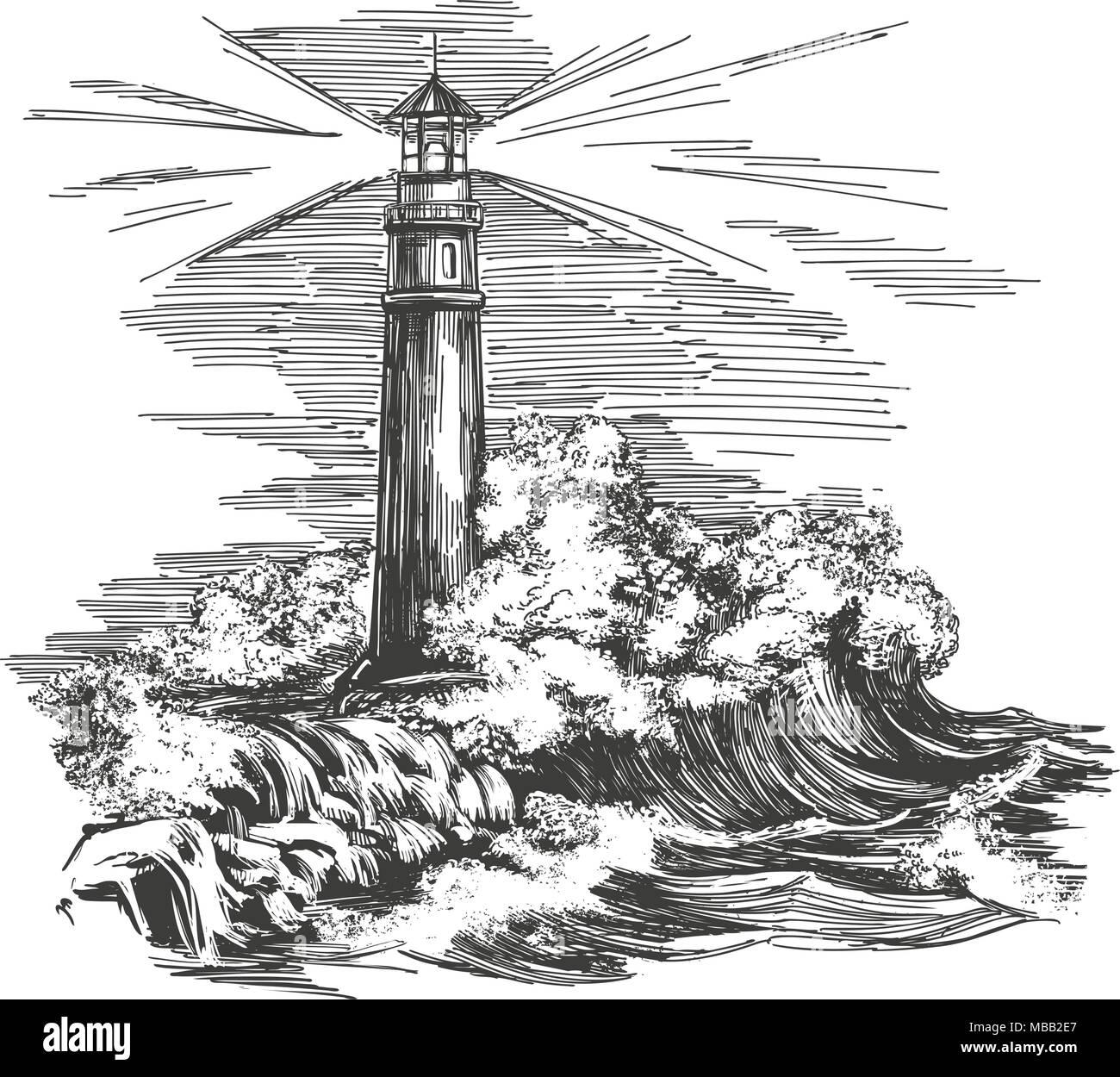 Faro faro nel buio e paesaggio marino storm disegnati a for Disegno paesaggio marino
