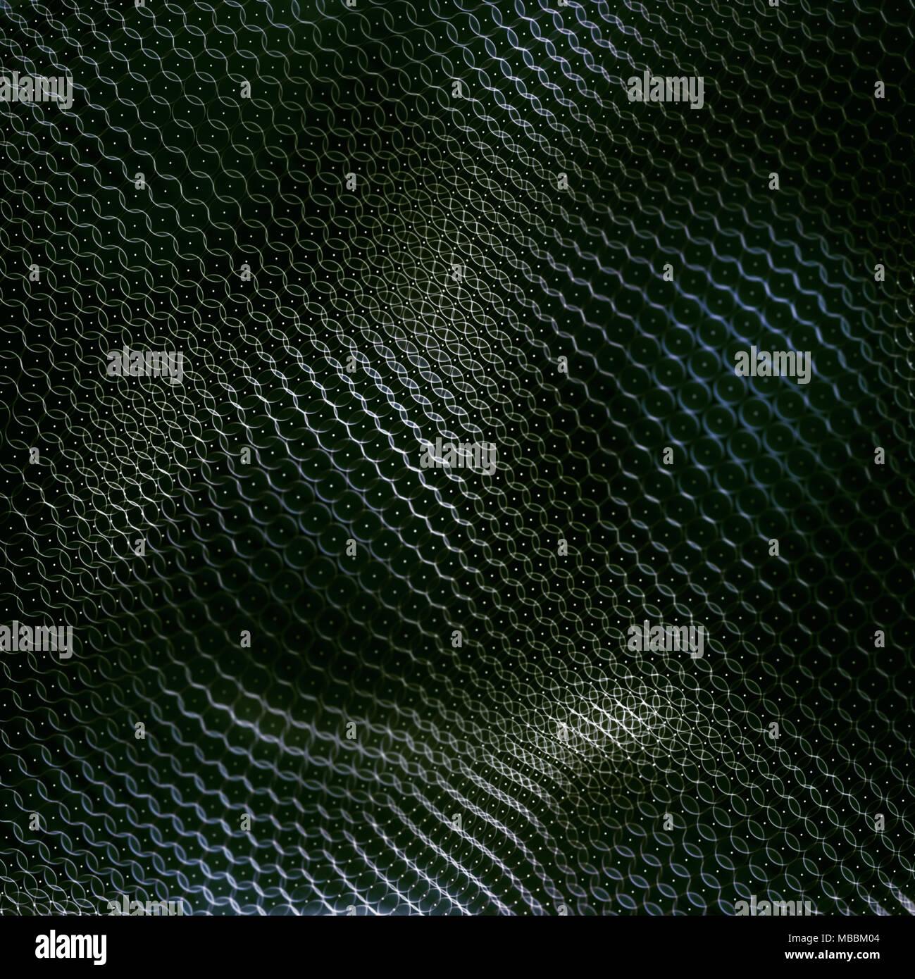 3D'illustrazione. Sfondo astratto di cerchi intrecciati e uniti sotto forma di una maglia flessibile. Immagini Stock