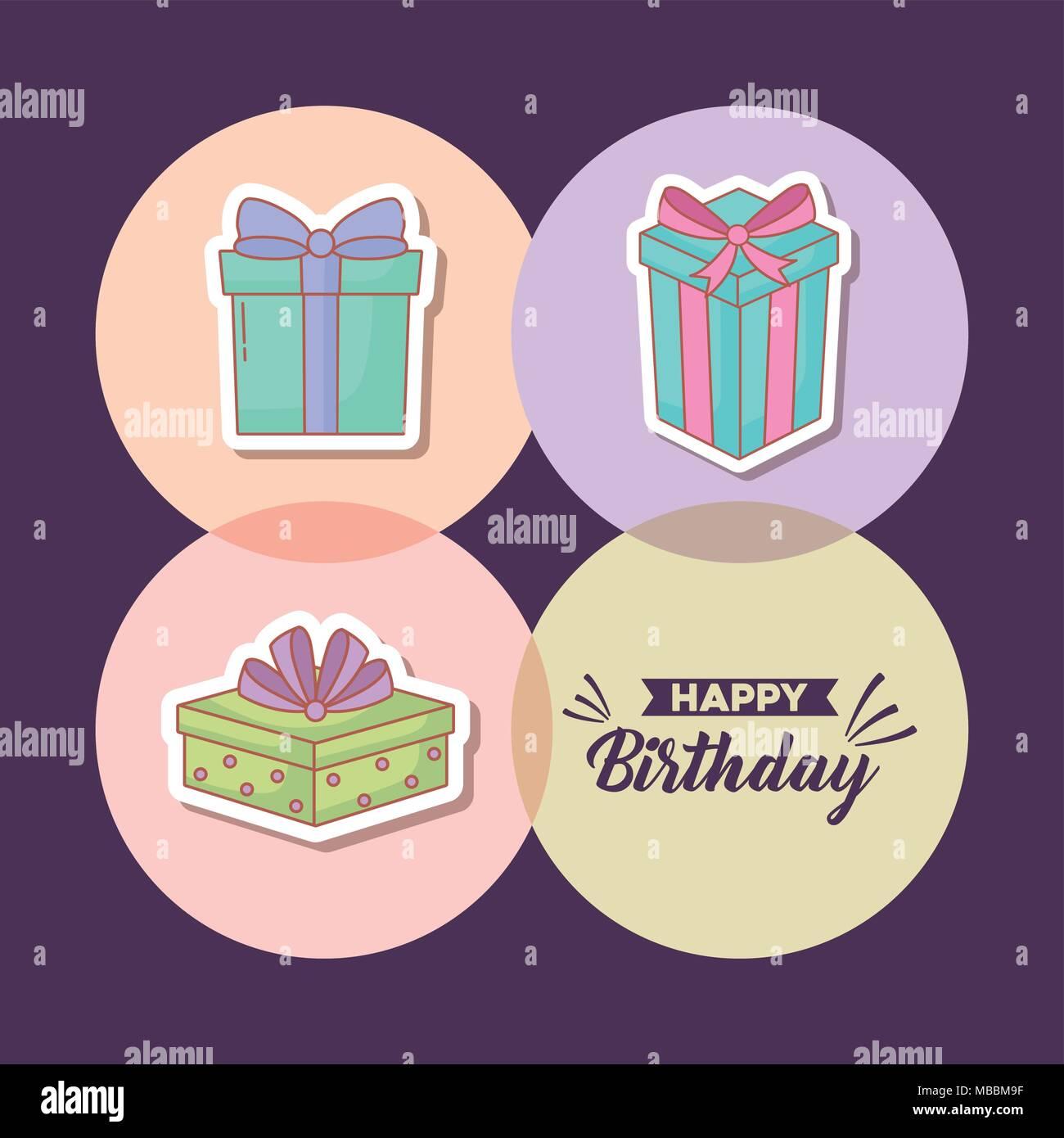 Icona set di buon compleanno concetto su cerchi colorati e sfondo viola, illustrazione vettoriale Immagini Stock