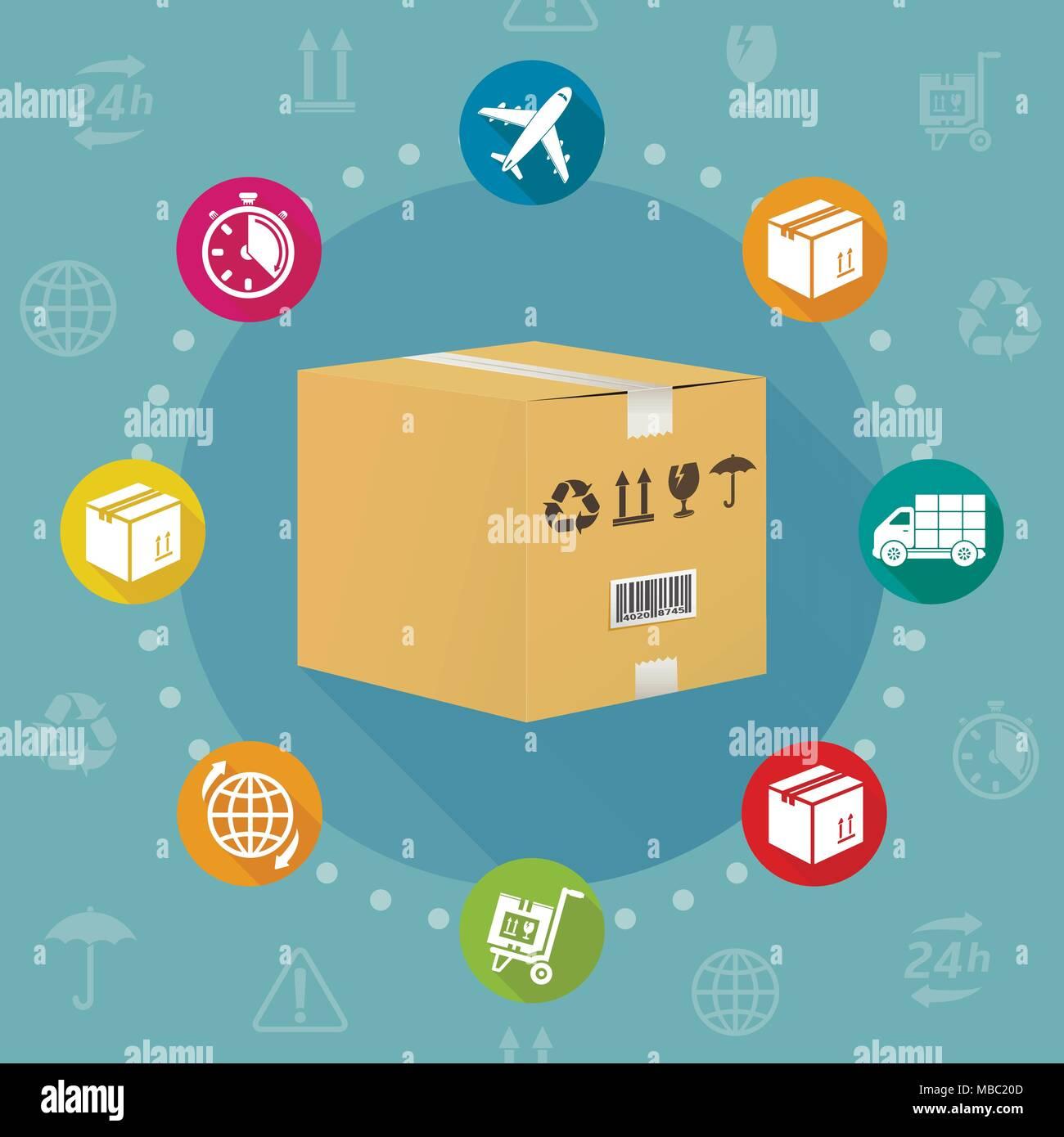 Servizio di consegna il design piatto, illustrazione vettoriale Immagini Stock