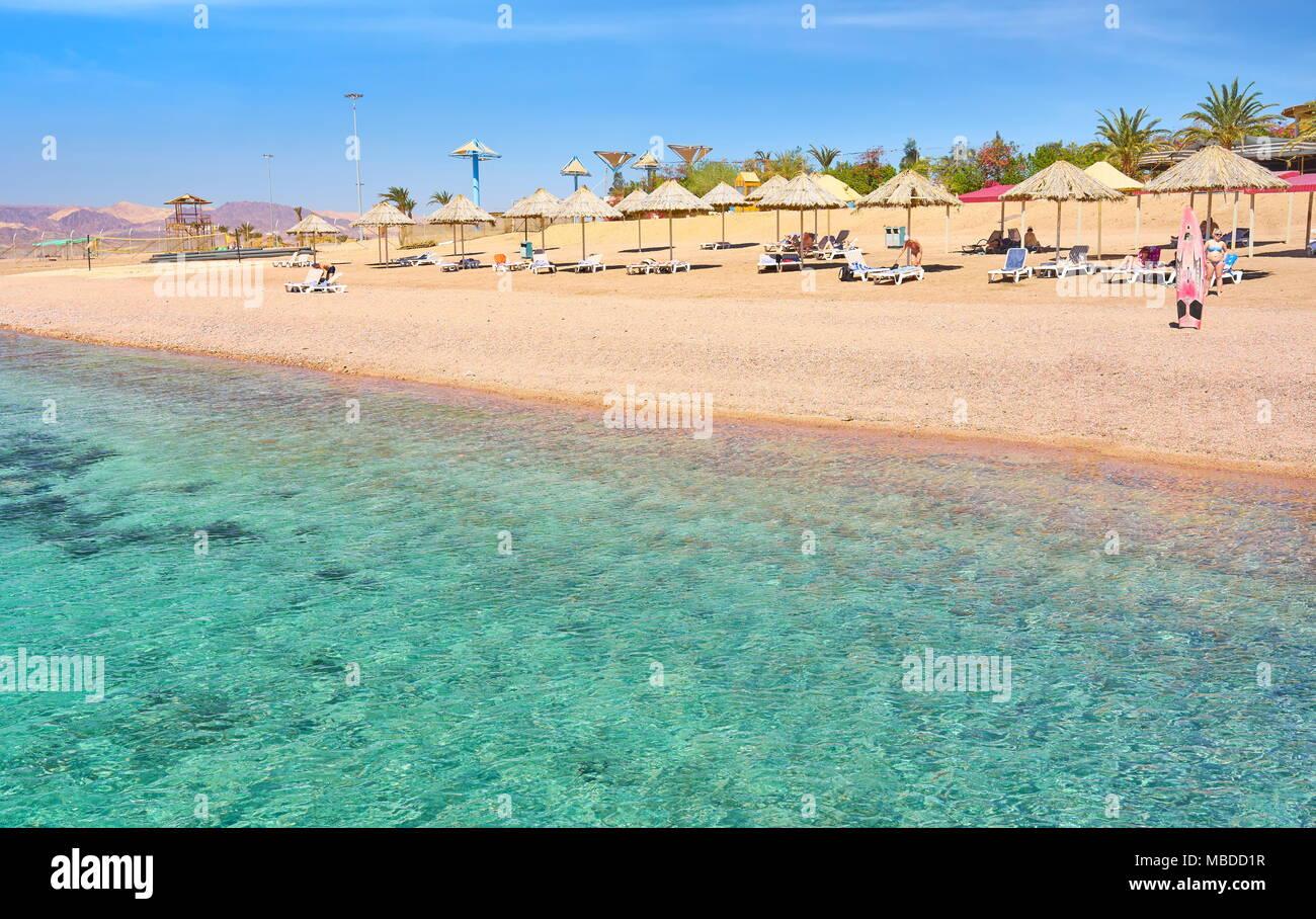 Beach resort Berenice, Aqaba Giordania Immagini Stock