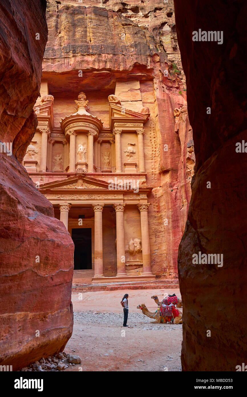 Al Tesoro Khazneh, Petra antica città, Giordania Immagini Stock