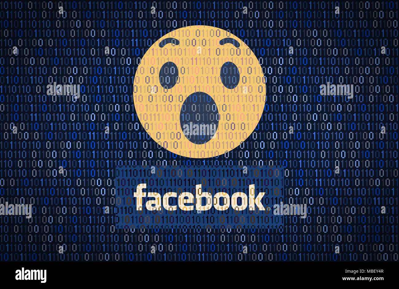 GALATI, Romania - 10 Aprile 2018: dati Facebook i problemi di sicurezza e privacy. Dati concetto di crittografia Immagini Stock