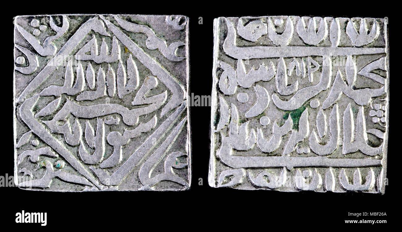 Argento massiccio tempio indiano Token (c1900) stesso design e peso come una C17th Akbar rupee. Non moneta legale, utilizzato come offerte votive o dono religiosa Immagini Stock