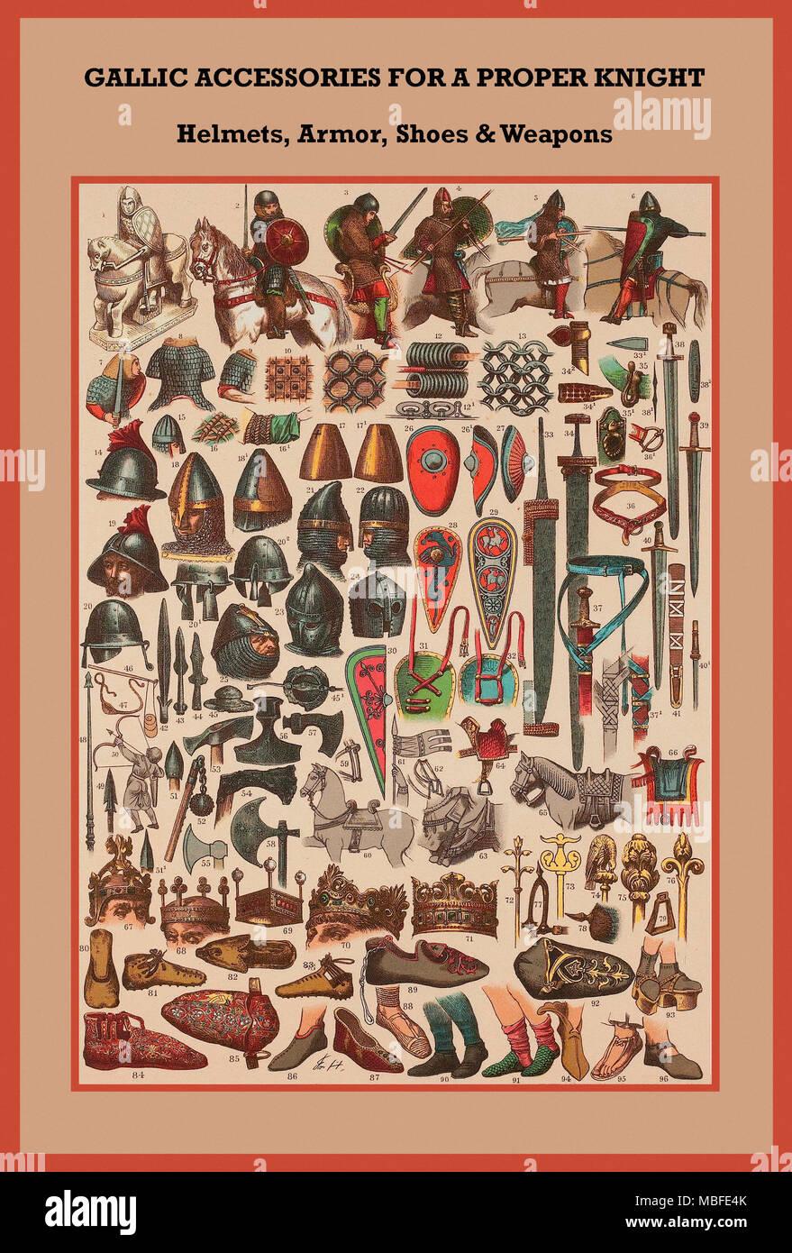 Il cavaliere gallico caschi, ARMOR, scarpe & Armi Immagini Stock