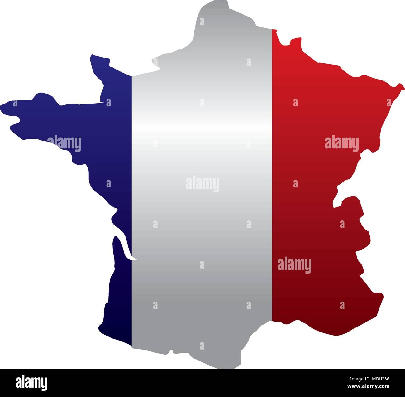 Bandiera Francese Nazionale Nel Simbolo Della Mappa Illustrazione