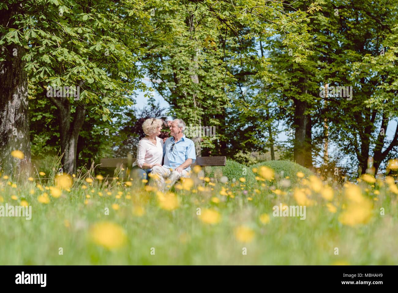 Romantico coppia senior in love dating all'aperto in un parco idilliaco Immagini Stock