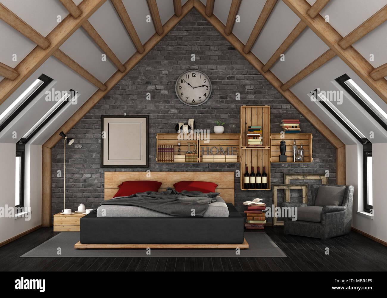 Camera Da Letto Rustico : Mansarda con camera da letto matrimoniale in stile rustico 3d