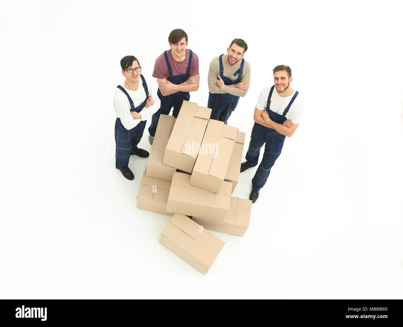 I giovani promotori di scatole di contenimento isolato su sfondo bianco, Immagini Stock