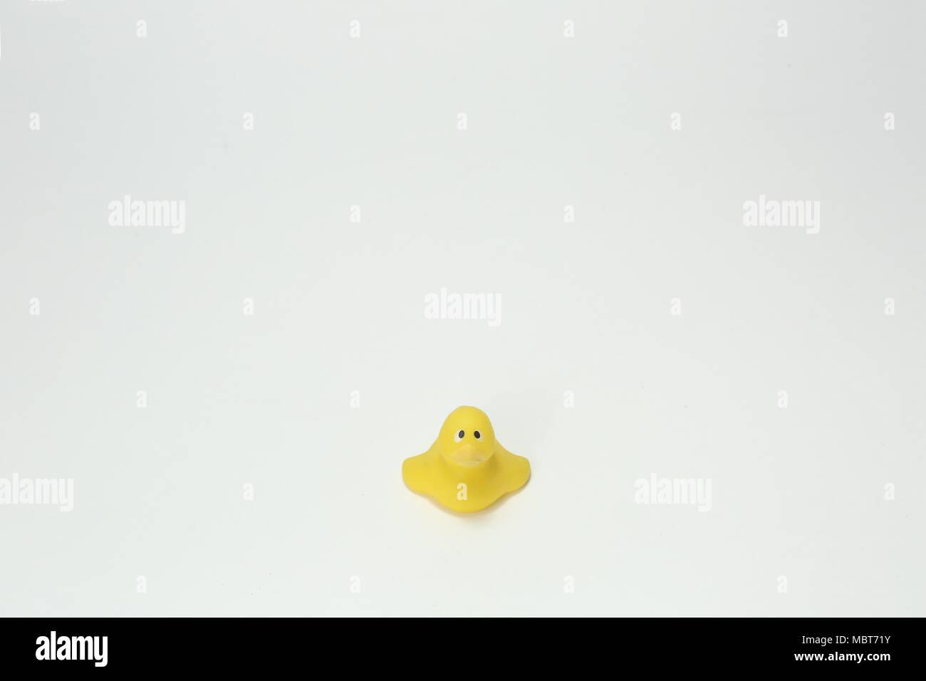 Un singolo giallo giocattolo di plastica di anatra con la supplica gli occhi. Il tipo di plastica duck che si potrebbe mettere in una vasca da bagno. L'espressione evoca un senso di solidarietà. Immagini Stock