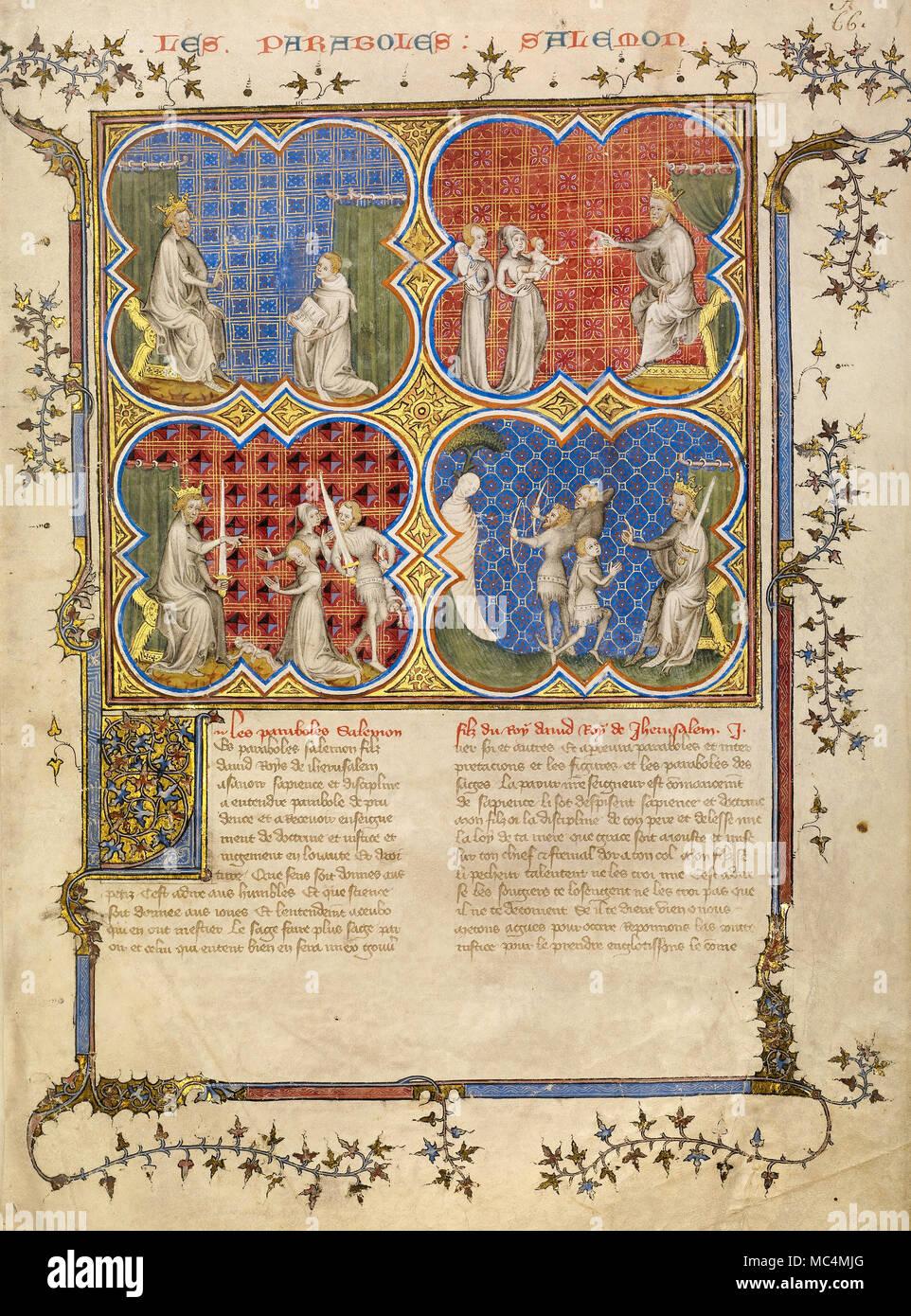 Maestro di Jean de Mandeville, Insegnamento Salomone Roboamo; la sentenza di Salomone; test di Salomone la legittimità dei tre fratelli. Circa 1360-1370. T Immagini Stock