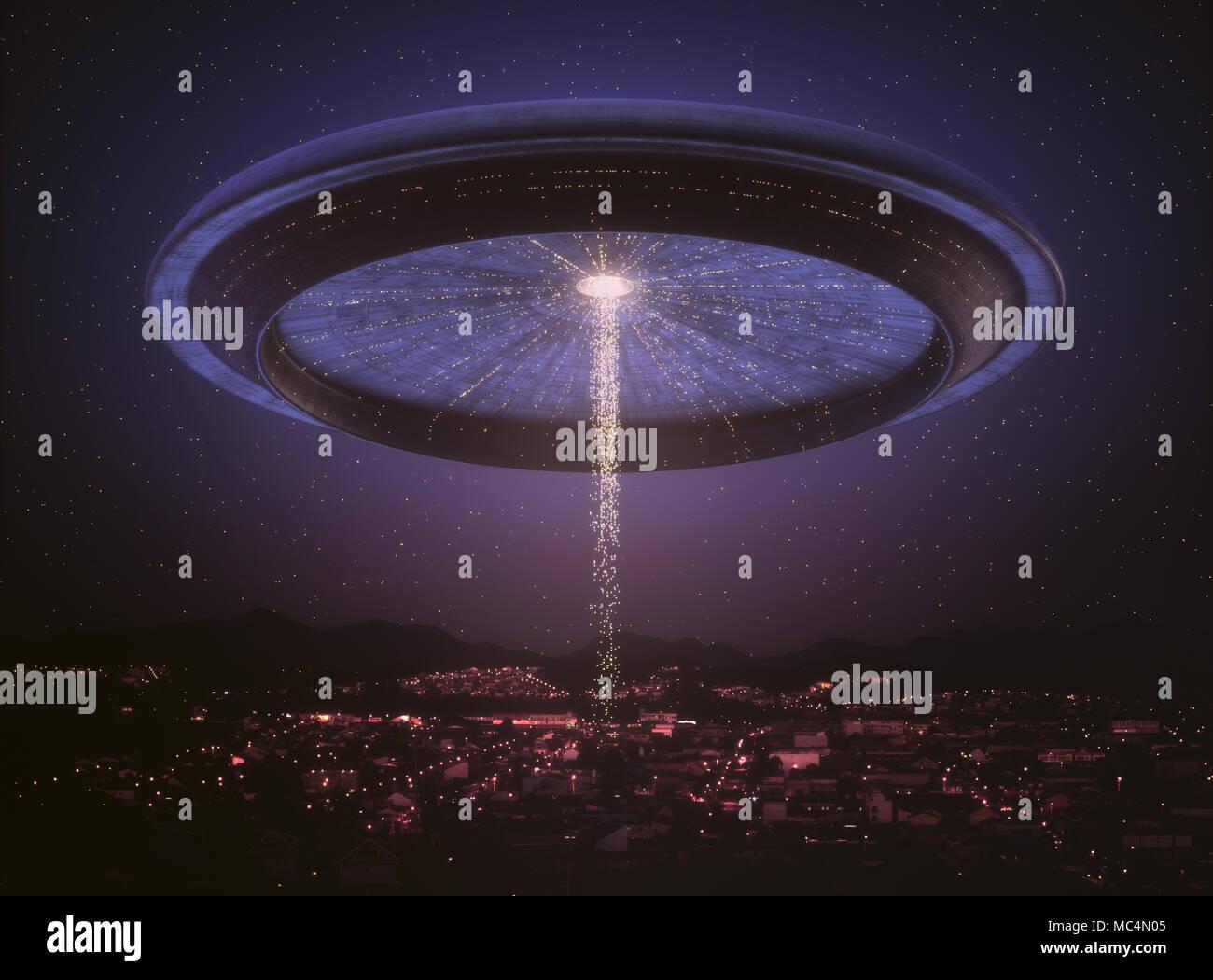 3D'illustrazione. Spazio nave aliena UFO oltre la città. Immagine concettuale del ufology. Foto Stock
