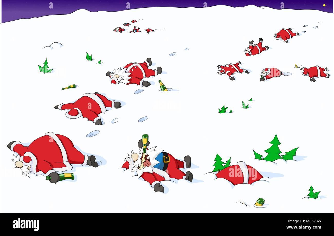 Immagini Natale Umoristiche.Festa Di Natale All Aperto Celebrazione Fumetto Umoristico Vettore