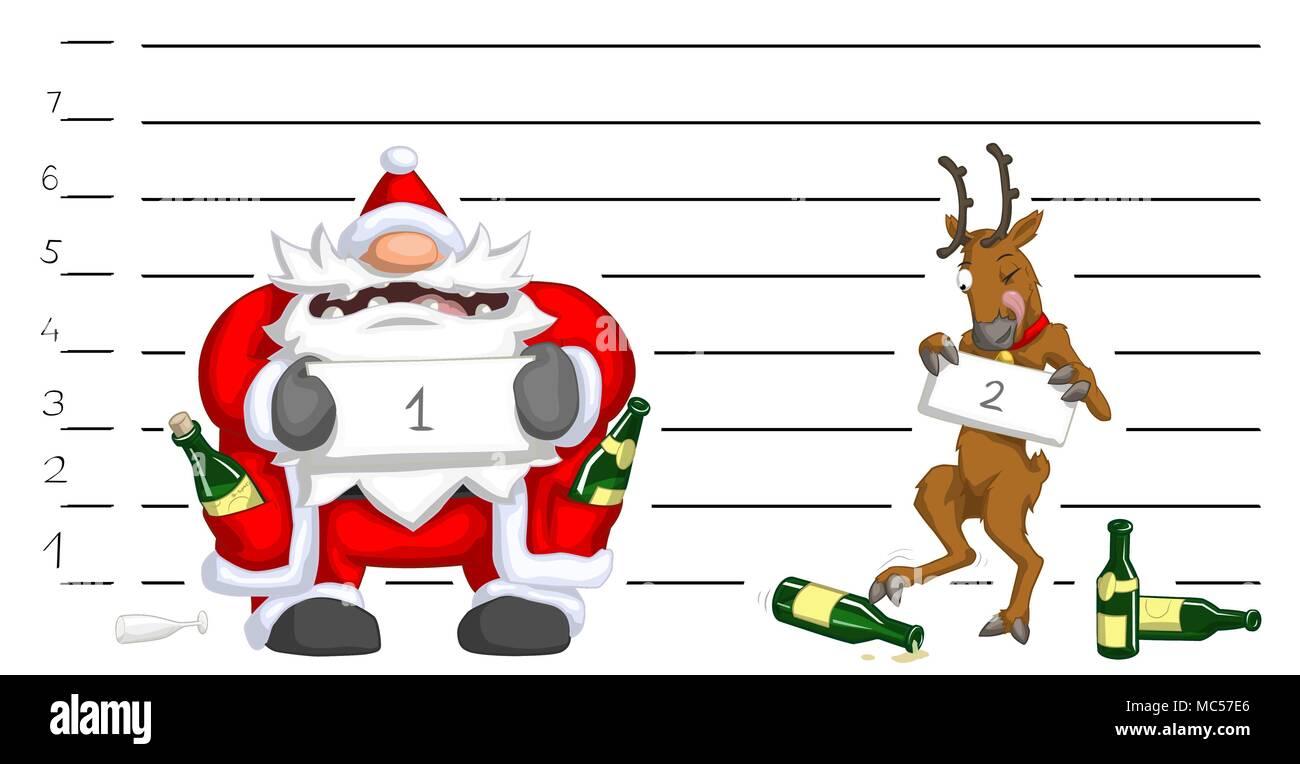Babbo Natale Ubriaco.Babbo Natale E La Renna Ubriaco Lineup Di Polizia Festa Di Natale
