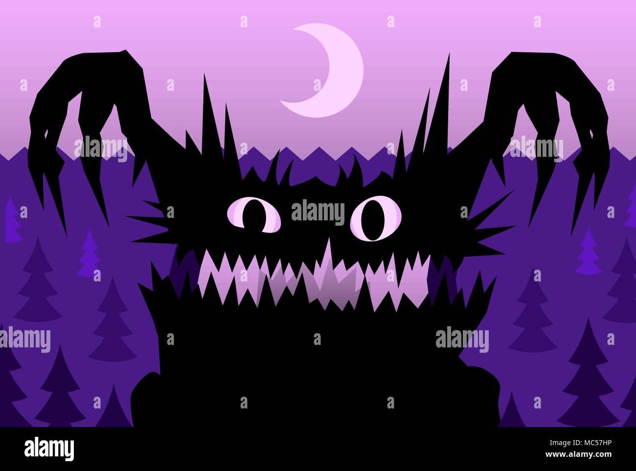 Spaventare la notte di halloween monster illustrazione vettoriale