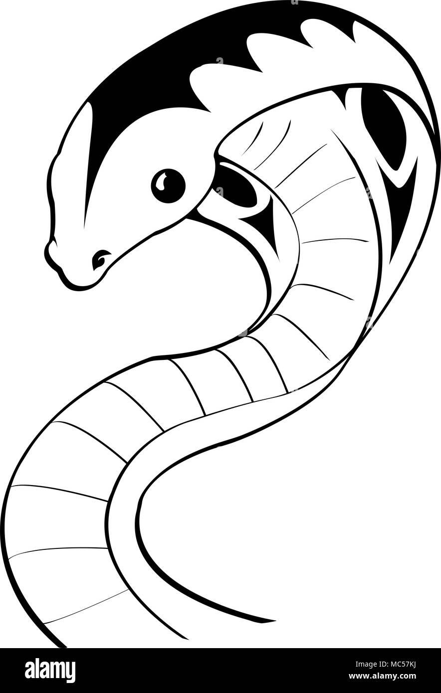 In Bianco E Nero Di Serpente Di Vettore Di Disegno Di Origine