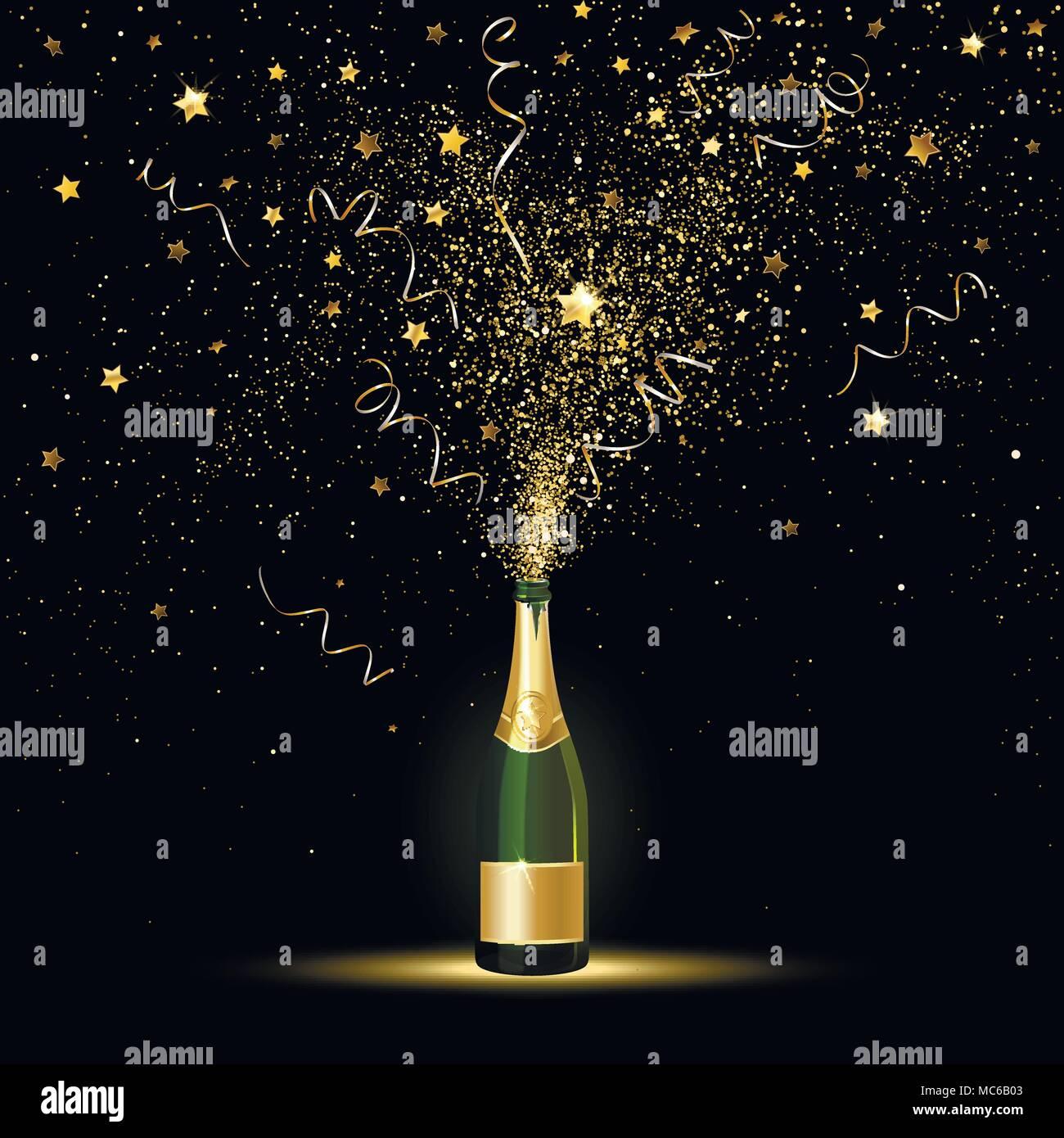 Champagne spruzzi di coriandoli oro su sfondo nero Illustrazione Vettoriale