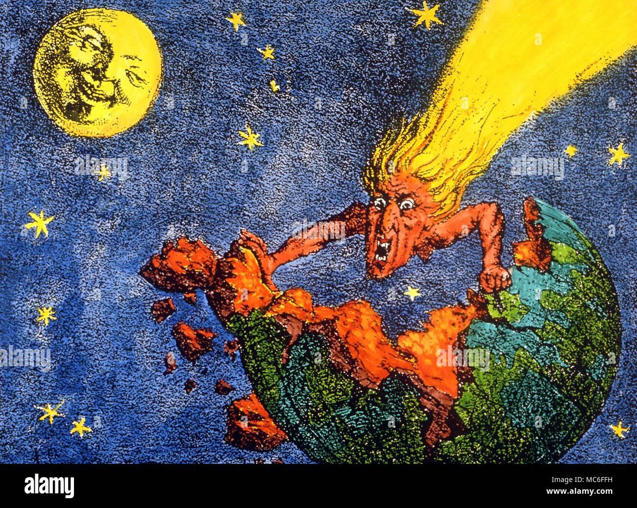 Comete e meteore litografia basata su di un cartone animato