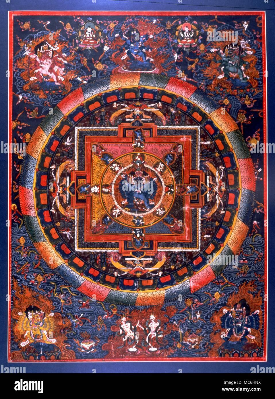 Un indiano Tanka o Mandala con i quattro guardiani dello spazio e demoni di origine Vedica. Immagini Stock
