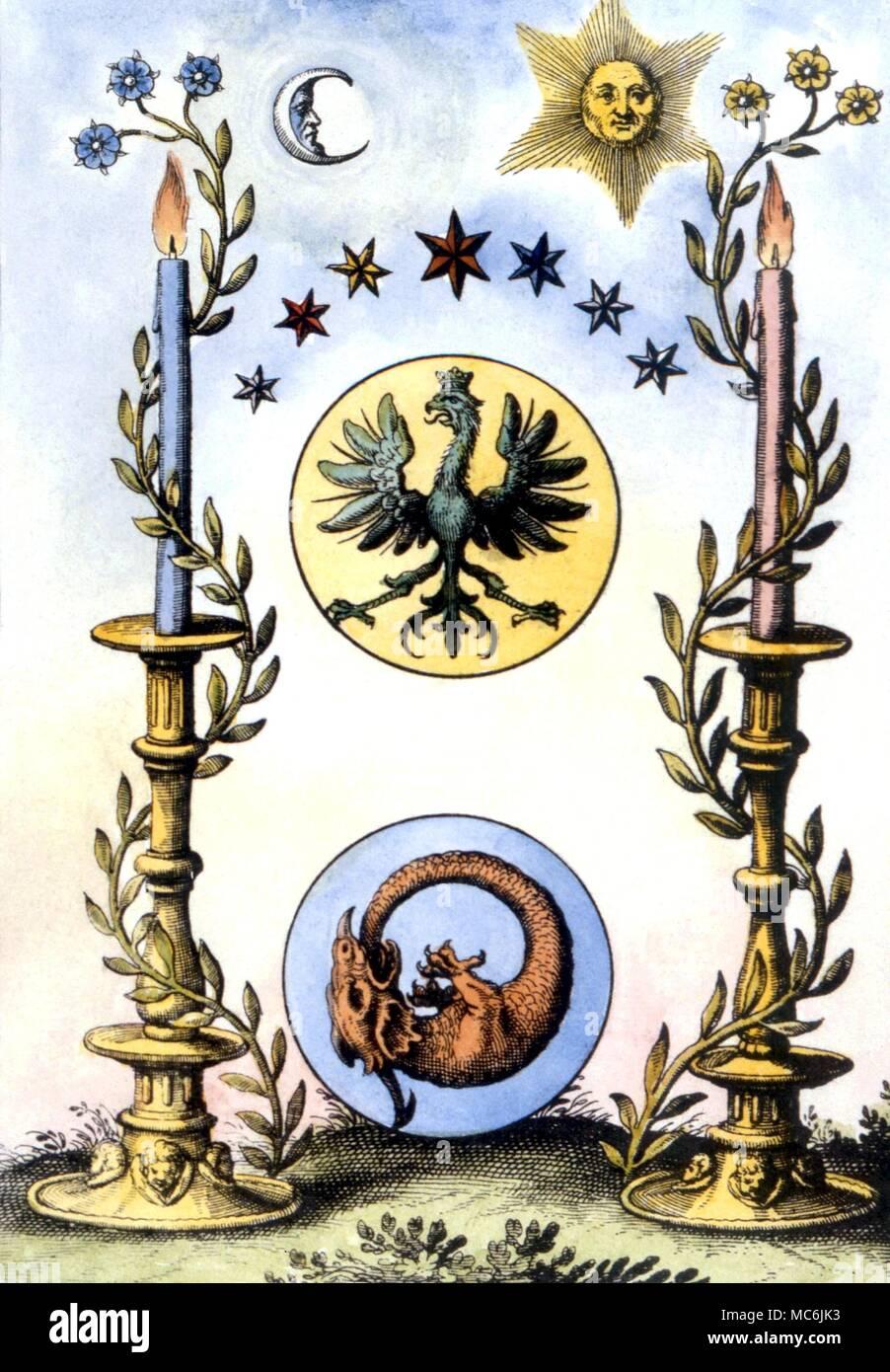 Alchimia - OURABOROS. Piastra emblematico, all'Aquila volatile e il drago Ouroborus, da Mylius' 'Anatomia Auri', 1628 Immagini Stock