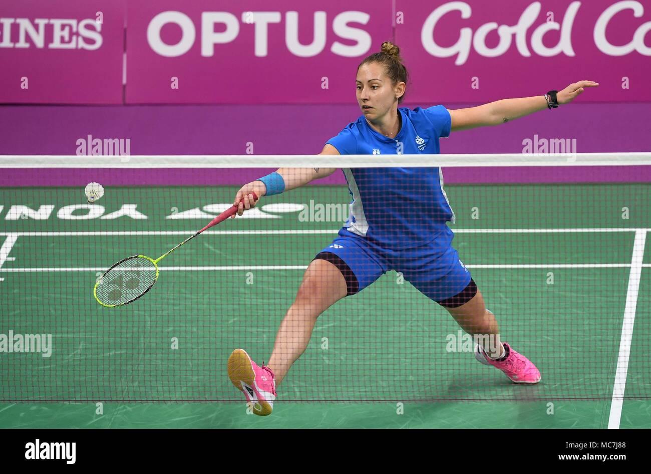 Queensland, Australia, 14 aprile 2018. Kirsty Gilmour (SCO). Womens singles. Semi finale. Badminton. XXI Giochi del Commonwealth. Carrara Sports Hall 2. Costa d'Oro 2018. Queensland. Australia. Credito: Sport In immagini/Alamy Live News Immagini Stock