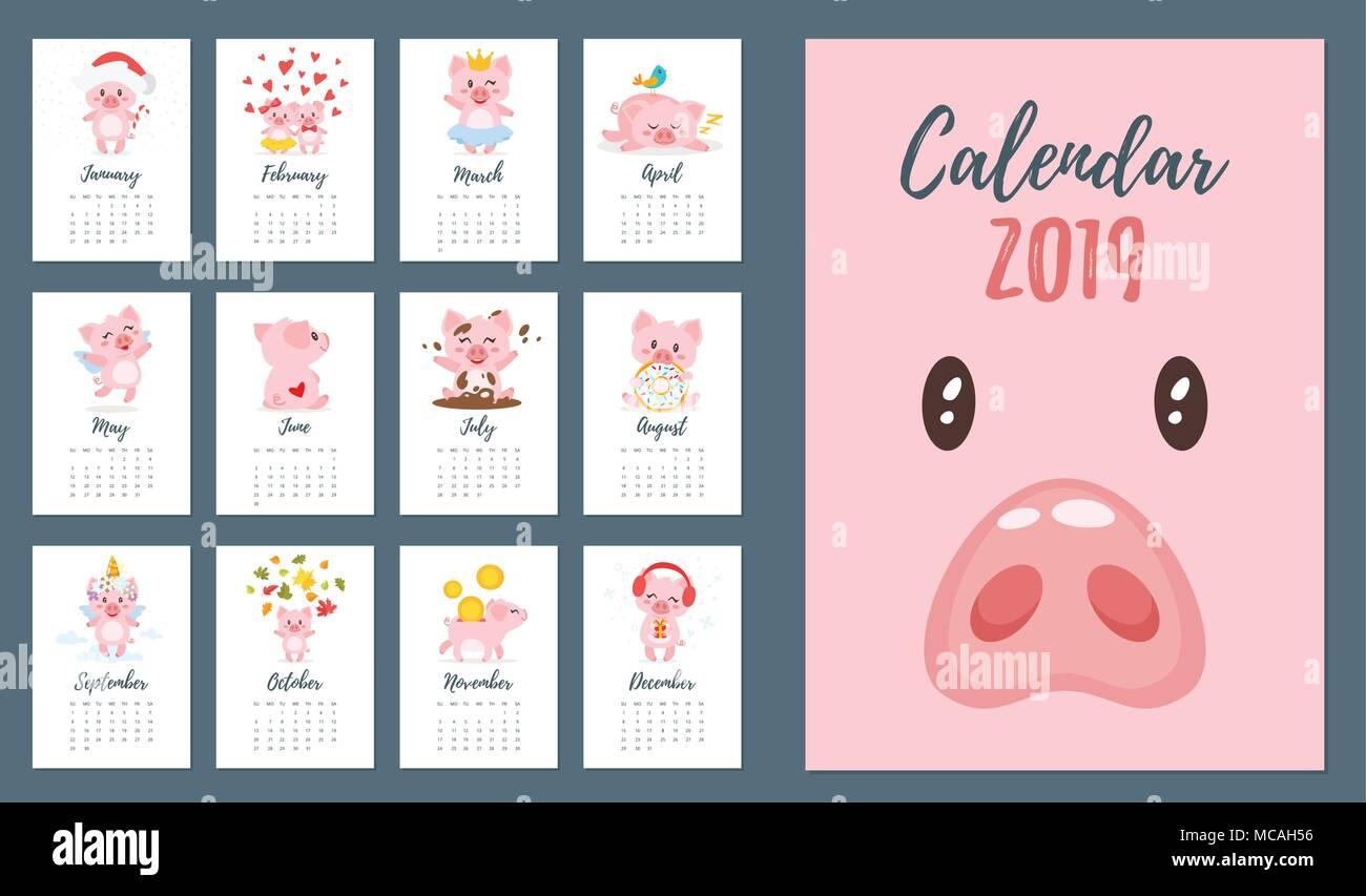 Modelli Calendario 2019.Vettore Stile Fumetto Illustrazione Di 2019 Anno Di Maiale