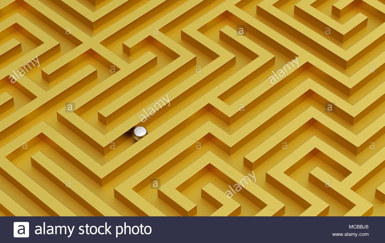 Labirinto vista isometrica colori vividi idea pareti d'oro e argento sfera Immagini Stock