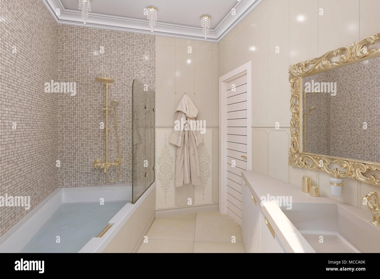 Bagno di lusso interior design in un classico stile architettonico