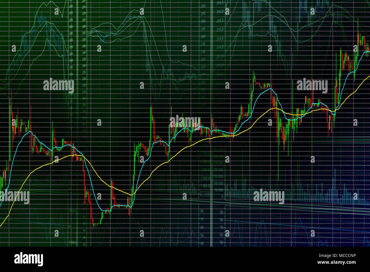Il mercato azionario candela grafico a barre. Tendenza verso l'alto. Abstract borsa composizione a tema Immagini Stock